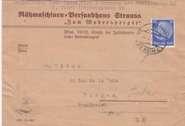 12 11 41 , COVER,  WIEN TO FRANCE. BACK GERMAN CENSOR - Allemagne