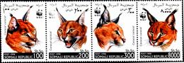 WWF-ANIMALS-WILDN CAT-CARACAL-SETENANT OF 4-SOMALIA-1988-MNH-273 - W.W.F.