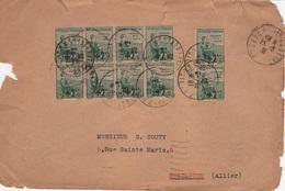 FR-L122 - FRANCE Bloc De 8 + Paire Orphelins Surchargés Sur Lettre De Périgueux Pour Montluçon 1933 - France