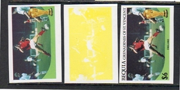 Bequia Football ENGLAND PROOFS $ 6,00 3 Different Color Stages MNH (v5) - Grenada (1974-...)