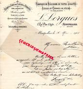 34 - MONTPELLIER- FACTURE L. LORGUES- FABRIQUE BOUCHONS LIEGES ET CARRES DE PECHE- 5 RUE PLAN D' AGDE- 1901 - France