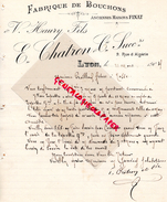69 - LYON- FACTURE E. CHATRON & CIE- FABRIQUE BOUCHONS-MAISONS FINAT & V. HAURY FILS- 9 RUE ALGERIE- 1904 - France