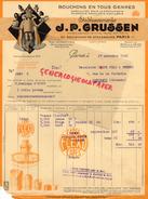 75- PARIS- BELLE FACTURE J.P. GRUSSEN - BOUCHONS PARFUMERIE PHARMACIE DISTILLERIE-50 BD STRASBOURG- 1941 - France