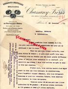 75- PARIS- FACTURE CHASSANY FRERES- VERRERIES A BOUTEILLES BOUCHONS- 64 BD. RICHARD LENOIR- BIERE-1911 - France