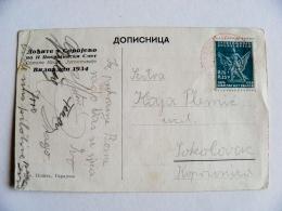 Old Post Card Sent From Yugoslavia 1934 Bridge Sarajevo - 1931-1941 Kingdom Of Yugoslavia