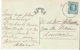 CP. De JUSLENVILLE - Le Château - TP.194 Oblit. JUSLENVILLE En Bleu Vert En 1925 Date Inversée - 1922-1927 Houyoux