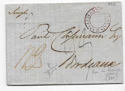 Marque D'entrée Maritime Angleterre Par Calais Rare En Rouge En 1834 Sur Imprimé Des Tarifs De Denrées Diverses - Postmark Collection (Covers)