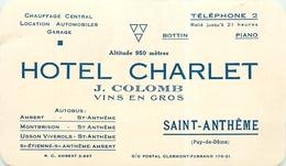 SAINT ANTHEME - HÔTEL CHARLET - CARTE COMMERCIALE ANCIENNE (8 X13,2 Cm). - France