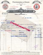 15 - RIOM ES MONTAGNE- FACTURE GEORGES SEROUDE-FROMAGES EN GROS-FROMAGE- BLEU AUVERGNE-CANTAL LAGUIOLE- LOU PARABEL-1931 - France