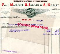 15 - AURILLAC- IMPRIMERIE LIBRAIRIE PAPETERIE- PIERRE MALROUX -B. LABORIE-A. DELPRAT- FABRIQUE CAHIETS POUR ECOLE-1937 - France