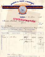 15 - THIEZAC- BELLE FACTURE ETS. LUCIEN CHAUTARD- MONTS D' AUVERGNE -FROMAGES FROMAGE- LE BERGER- 1938 - France