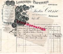 15 - AURILLAC- BELLE FACTURE JUSTIN CASSE- LIBRAIRIE PAPETERIE- 2-4 RUE EMILE DUCLAUX- 1902 - France