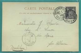 M4 : TAD DOUBLE COURONNE FONTAINEBLEAU 5 OCT 1900 SUR SAGE 10 C NOIR SUR LILAS - Francia
