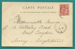 M4 : TAD GARE DE FONTAINEBLEAU 16.12.1901 SUR MOUCHON 10 C (116) POUR ANGLETERRE - Postmark Collection (Covers)