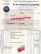 15 - AURILLAC- FACTURE L' AUVERGNE LAITIERE- FROMAGES LAGUIOLE CANTAL- BLEUS-BLEU- RIOM ES MONTAGNE- 1945 - France