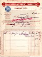 15 - AURILLAC- FACTURE L' AUVERGNE LAITIERE- FROMAGES LAGUIOLE CANTAL- BLEUS-BLEU- RIOM ES MONTAGNE- 1935 - France
