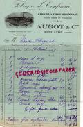 03 - MONTLUCON- BELLE FACTURE AUGOT & CIE- FABRIQUE CONFISERIE- CAFES VERTS -1925 CHOCOLAT BOURBONNAIS - France