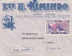 VIET-NAM.  LETTRE PAR AVION.  ETs N. KIMINDO SAIGON POUR LA FRANCE - Vietnam