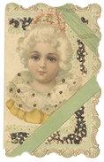 Petite Carte Dépliante, Visage De Fillette ( Gaufrée, Dentelée, Paillettes )  ( FA ) - Fantaisies