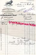 03- MONTLUCON- FACTURE A. SERVANT -F. TARAVEL- MANUFACTURE FOURRURES- VETEMENTS- 82 BD.COURTAIS- 1931 - France