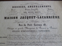 Facture 1850 Paris Maison Jacquet Lacardière 18 Rue Du Petit Carreau Bronze Ameublement ébénisterie Tapisserie - France