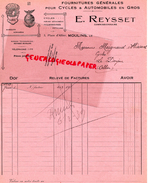 03- MOULINS- FACTURE E. REYSSET- FOURNITURES POUR CYCLES VELOS AUTOMOBILES-CYCLE GLOIRE- RYS-3 PLACE ALLIER- 1939 - France