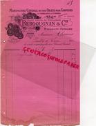 63 - CLERMONT FERRAND- FACTURE BERGOUGNAN & CIE- MANUFACTURE GENERALE POUR GRAVEURS-GRAVEUR TIMBRES- 1918 - France