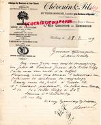 40- VIEUX BOUCAU -50- CHERBOURG- BELLE FACTURE THEVENIN ET FILS- FABRIQUE BOUCHONS POUR PHARMACIE-PARFUMERIE-LIEGES 1909 - France