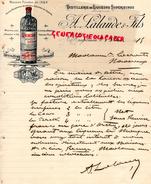 40- HAGETMAU- BELLE FACTURE DISTILLERIE LIQUEURS - PERCEK -A. LALANDE FILS- LIQUEUR PECHE AU BAS ARMAGNAC- 1915 - France
