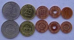 FILIPPINE SERIE 5 MONETE 1 PISO 25-10-5-1 SENTIMO FDC UNC - Filippine