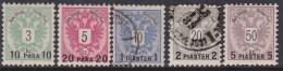 Austria In Turkish Empire 1888 Sc 15-19 Mint/used - Austria