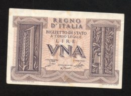 Banconota ITALIA 1 Lira 14-11-1939 (SPL) - [ 1] …-1946 : Kingdom