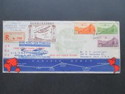 China 1937 First Flight Hong Kong - San Francisco. R-Brief Shanghai. China Clipper Via Cnac. USA First Flight. PAA - China