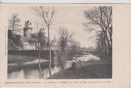 C P A 85 Vendée Apremont-sur-Vie: Le Chateau Et L'église. - France