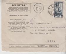 Repubblica 20/10/1951 Busta Cover Scientia Asso Como - 6. 1946-.. Repubblica