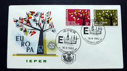 Belgien 1282/3 FDC, ESST Ieper, EUROPA/CEPT 1962 - FDC