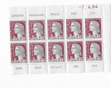 Marianne De Decaris En Bloc De 10** émis Pour Expo Philatélie De 1964 - 1960 Marianne De Decaris