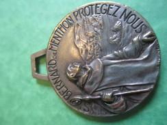 Médaille De Sport/Montagne / Ski/ /Bronze Nickelé/St Bernard De Menthon Protégez Nous/Vers 1940-1960        SPO127 - Winter Sports