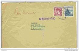 """EU - 2789 - Lettre Envoyée De Prague à Paris 1938 - Cachet Linéaire """"Censurovano"""" - Czechoslovakia"""
