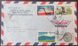 Enveloppe à Destination De La France Avec 4 Timbres Etats-Unis USA Année 1967 - Marcophilie
