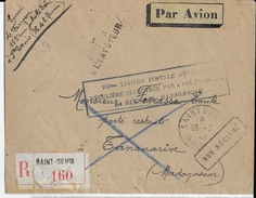 """REUNION - 1947 - ENVELOPPE RECOMMANDEE Par AVION """"100° LIAISON MADAGASCAR"""" De SAINT DENIS => TANANARIVE - RETOUR - Réunion (1852-1975)"""