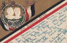 Prägekarte Ein Deutscher Gruß Mit Kaiserpaar Gelaufen Bpst. - Weltkrieg 1914-18