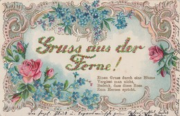Prägekarte Mit Blumen Gruss Aus Der Ferne Color Gelaufen - Blumen
