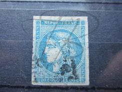 VEND BEAU TIMBRE DE FRANCE N° 46A , BLEU CLAIR !!!! - 1870 Bordeaux Printing