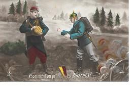 """14/18 BELLE CPA PATRIOTIQUE """"COMMENT ON PREND LES BOSCHES?"""" - Weltkrieg 1914-18"""