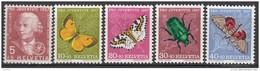 """SCHWEIZ 648-652, Postfrisch **, """"Pro Juventute"""" 1957, Leonhard Euler, Insekten"""