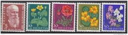 """SCHWEIZ 687-691, Postfrisch **, """"Pro Juventute"""" 1959, Carl Hilly, Wiesen- Und Gartenblumen"""