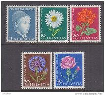 SCHWEIZ 786-790 Postfrisch **, Pro Juventute 1963, Wiesen- Und Gartenblumen