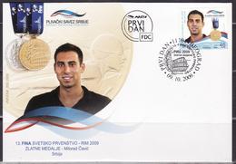 SERBIA 2009 Mi 324 XIII FINA WORLD CHAMPIONSHIPS- ROME GOLDEN MEDALS MILORAD ČAVIĆ FDC