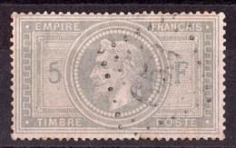 France - Napoléon III Lauré - N° 33A (5 Et F En Bleu) Oblitération GC 653 (Brou) - Cote 1200 - Départ 1 Euro